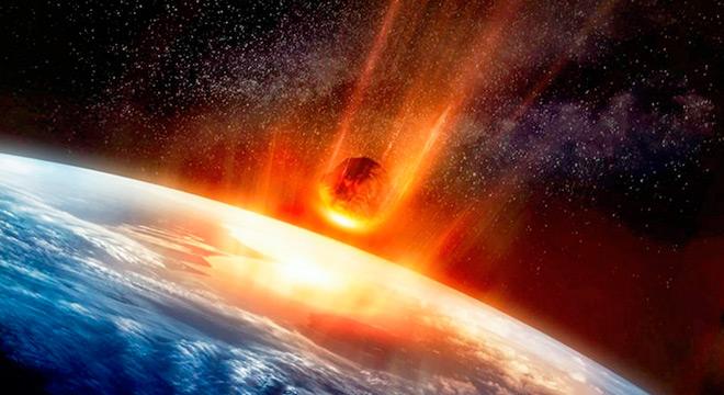 Ilustração de um asteroide atingindo a Terra (imagem: EarthSky)