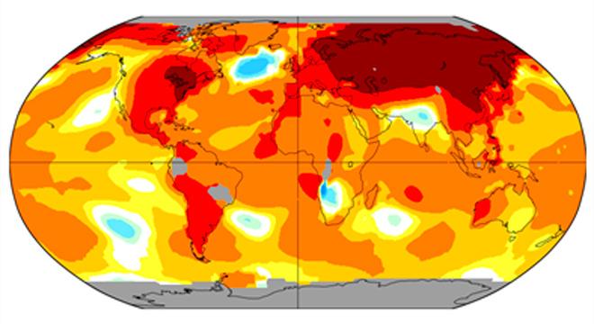 imagem do mapa mundo com demarcações das temperaturas