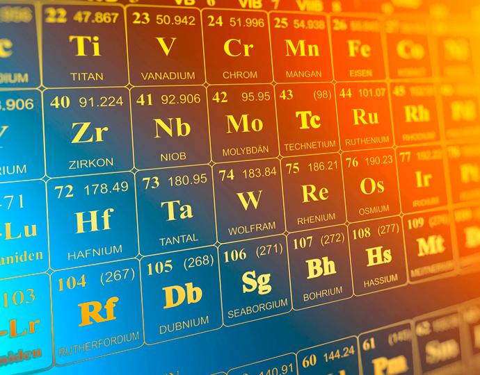 audiodescrição: ilustração colorida com a tabela periódica