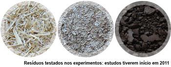 Resíduos testados nos experimentos: estudos tiverem início em 2011
