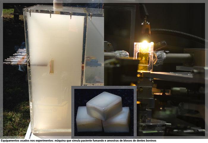 Equipamentos usados nos experimentos: máquina que simula paciente fumando e amostras de blocos de dentes bovinos