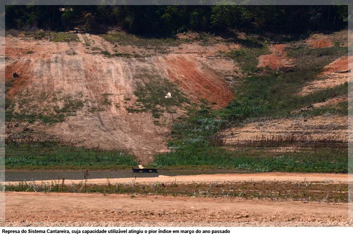 Represa do Sistema Cantareira, cuja capacidade utilizável atingiu o pior índice em março do ano passado