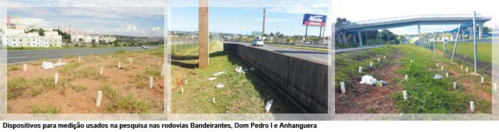 Dispositivos para medição usados na pesquisa nas rodovias Bandeirantes, Dom Pedro I e Anhanguera