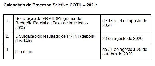 Calendário Cotil