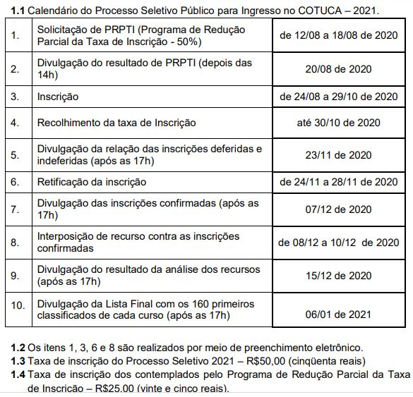 Calendário Cotuca 2021