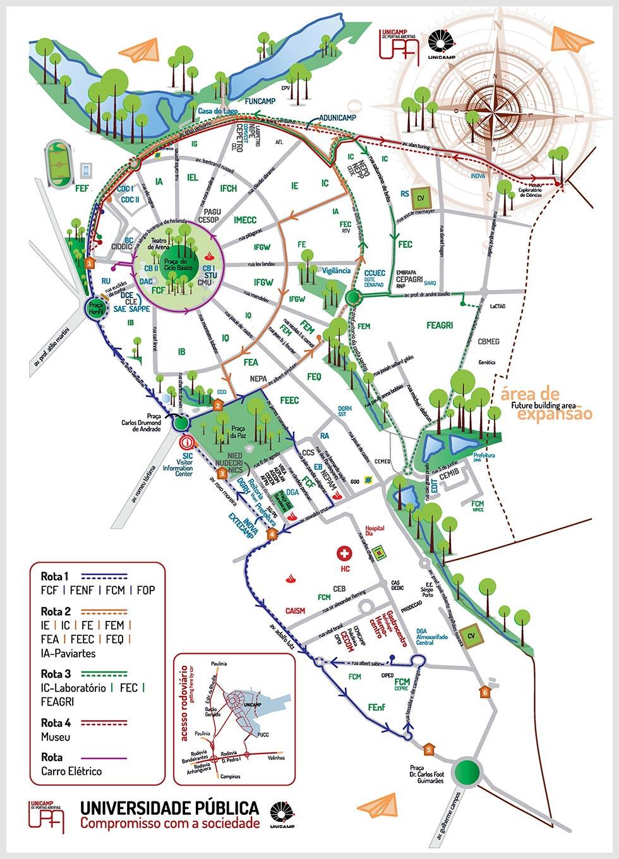 Mapa de acessos e rotas internas da Unicamp na UPA