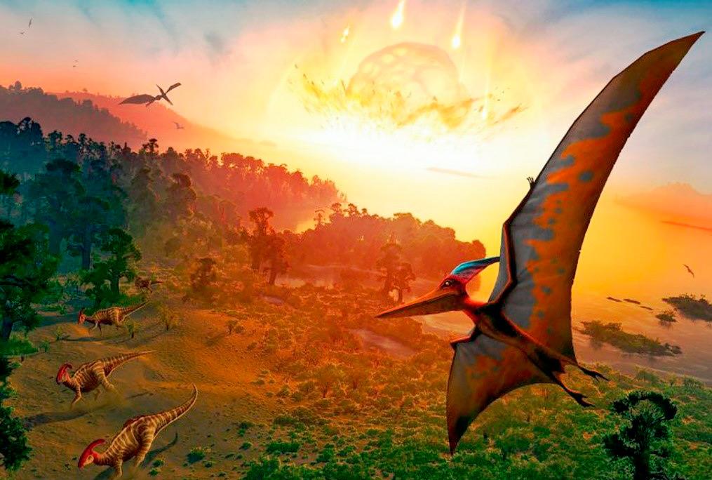 O impacto que provocou a extinção em massa da vida na Terra, incluindo os dinossauros, há 66 milhões de anos (imagem: Science Photo Library/Alamy Stock Photo).