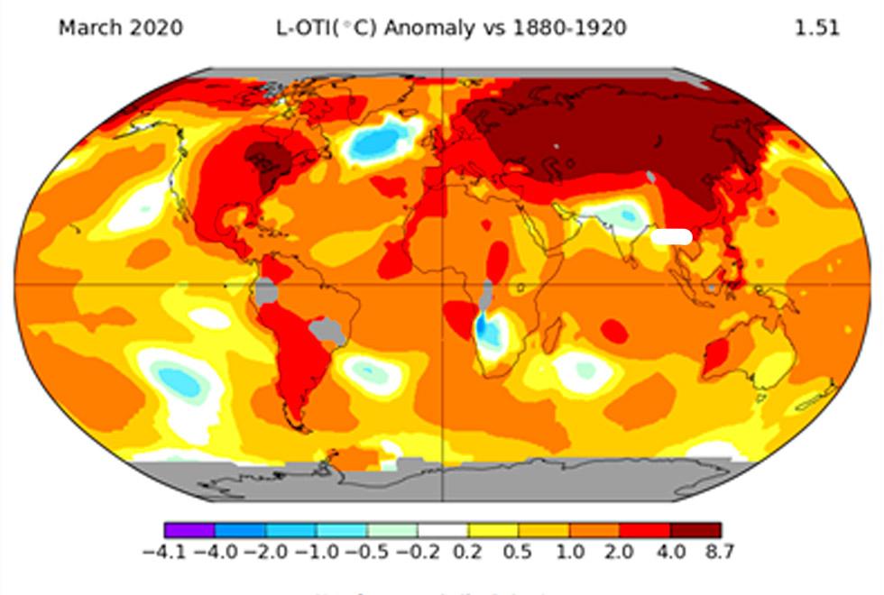 Anomalias de temperatura em março de 2020 (1,51C na média global), em relação ao período 1880-1920