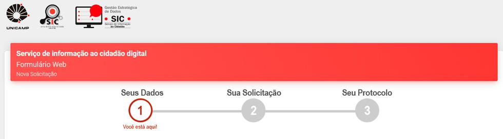 audiodescrição: imagem colorida mostrando a tela inicial do formulário do serviço de informações ao cidadão