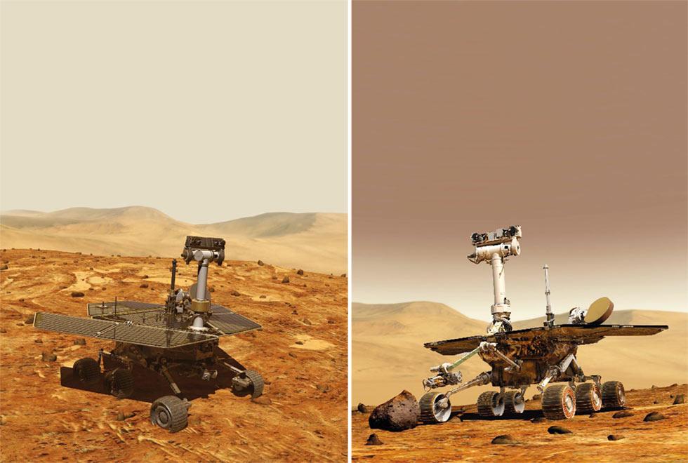 Representações artísticas dos jipes-robôs Spirit e Opportunity (NASA/JPL)