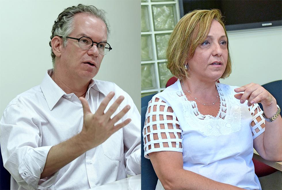 O reitor da Unicamp Marcelo Knobel e a pró-reitora Eliana Amaral aparecem lado a lado na montagem da  foto