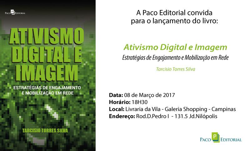 convite do lançamento do livro Ativismo digital e imagem