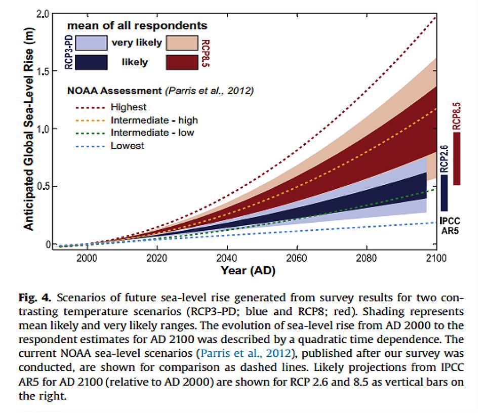 A figura 3 sintetiza num único gráfico essas projeções, comparando-as com as do IPCC e da National Oceanic and Atmospheric Administration (NOAA).