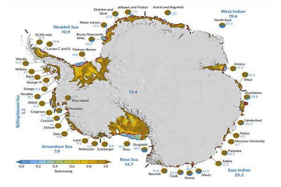 Mas as plataformas de gelo marítimo sobre os mares de Amundsen e de Bellingshausen (oeste e sudoeste da Antártica) são, sobretudo, gelo de escora e seu desprendimento futuro, dado por certo, abrirá caminho para o gelo continental descer de suas íngremes encostas para o mar, conforme mostram as manchas em amarelo na figura 5