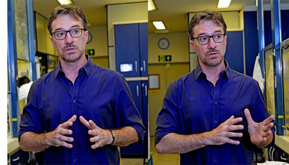 audiodescrição: montagem de duas fotografias coloridas do professor Luiz Carlos Dias