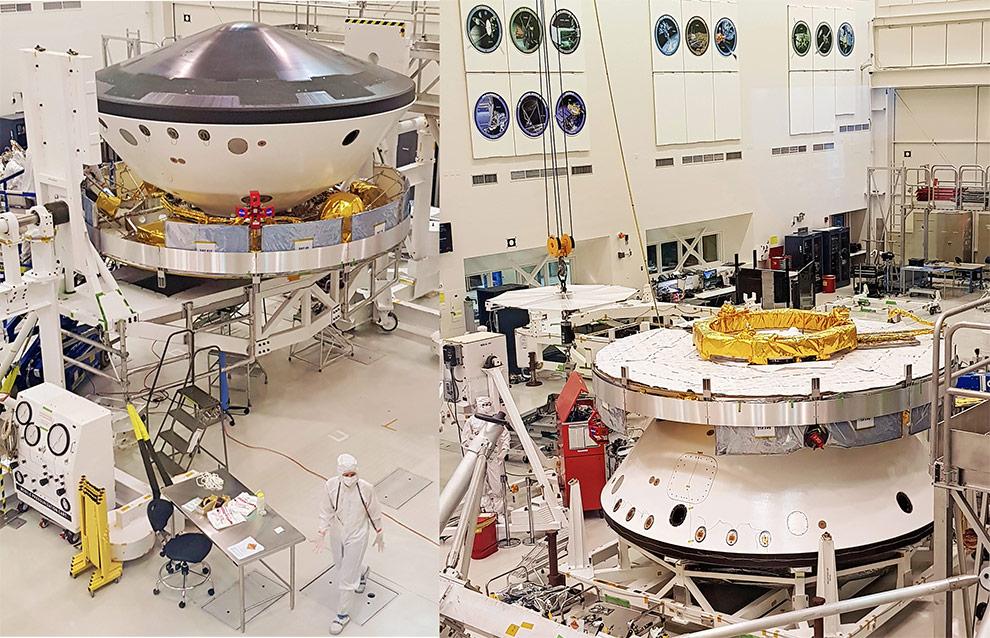 Estágio atual da integração do módulo da Missão Mars 2020 no Laboratório de Montagem de Espaçonaves. O corpo principal abrigará em seu interior o jipe robô. A foto da esquerda é do dia 18/04/2019 e mostra o módulo em posição invertida, com o escudo que o protege contra o calor na entrada na atmosfera de Marte (disco metálico) voltado para cima. A da direita, do dia seguinte, mostra o módulo na posição em que pousará em Marte.