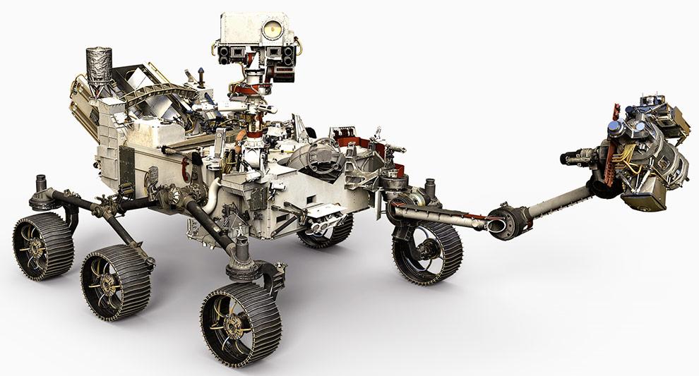 Visão artística do jipe robô da Mars 2020 com seu braço robótico, câmeras e demais instrumentos analíticos.