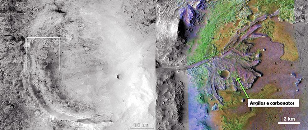À esquerda, a Cratera Jezera (diâmetro de 45 km) registrada pelo sensor CTX da Mars Reconnaissance Orbiter (MRO), com o retângulo branco indicando a posição da imagem seguinte. À direita, o interior da Cratera Jezero contendo um delta fluvial onde, por sensoriamento remoto, foram encontradas evidência de minerais formados na presença de água, incluindo argilas e carbonatos. Sobre o delta foi formada posteriormente uma pequena cratera meteorítica, visível no centro da imagem formada pela combinação de dados de dois sensores da MRO.