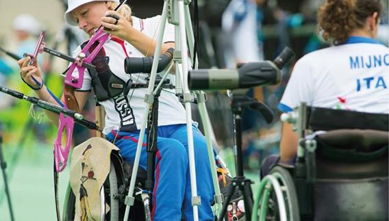 Atleta em ação durante evento teste para os Jogos Paralímpicos do Rio