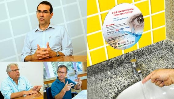 Adesivagem em sanitários e os professores Alvaro Crósta, Orlando Fontes Lima Jr e José Marcos Pinto da Cunha