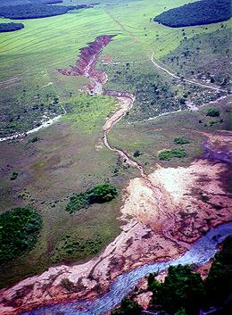 Vista aérea da Fazenda Chitolina, em Mineiros (GO), onde foram coletadas muitas amostras de á e solo para a pesquisa; no alto da foto, uma voçoroca (grande erosão), que é outro problema na região; na parte inferior, curso d'água do rio Araguaia em área de recarga do Aquífero Guarani (Foto: Renê Georges Boulet - Embrapa Meio Ambiente/Divulgação)
