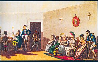 Festa no rio de janeiro, em ilustração da fundação da biblioteca nacional: novos ares com a corte joanina